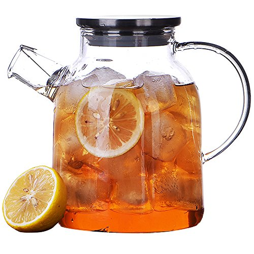 Ceramic Story Glass Water Pitcher With 304 Stainless Steel Lid,Large Water Pot, Glass Teapot, Iced Tea Pitcher, Water Carafe,Gas & Electric Ceramic Stovetop Safe (1.6L) ()