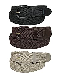 CTM® Men's Elastic Braided Stretch Belt (Pack of 3 Colors), Large