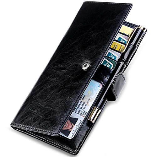Huztencor Checkbook Cover Registers Leather RFID Blocking Slim Wallet for Women and Men Checkbook Covers with Card Holder Wallet Checkbook Wallet for Duplicate Checks with Zipper Pocket Black