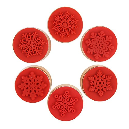 Own Art Rubber Stamp - DECORA 6 Pieces Snowflake Floral Wooden Rubber Stamps for Card Making Scrapbooking and Crafts