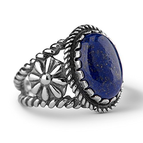American West Genuine .925 Sterling Silver Blue Lapis (Blue Lapis Ring)