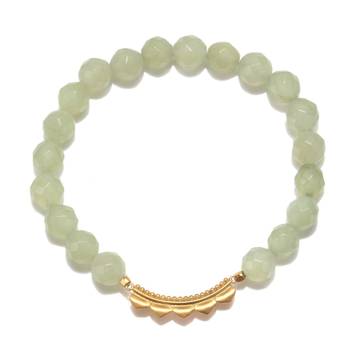 Satya Jewelry Petal New Jade Stretch Bracelet, Green, One Size