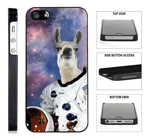 ([TeleSkins] - Hipster Astronaut Llama Galaxy - Black Plastic Case For iPhone 5 /5S/SE - Ultra Durable Slim & HARD PLASTIC Protective Vibrant Snap On Designer Back Case,Cover[Fits iPhone SE / 5 / 5S] )