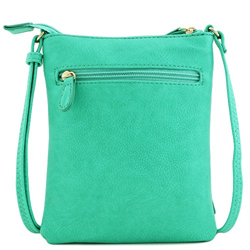 Zipper Small Crossbody Bag Turquoise Pocket Half moon Front qUzEII