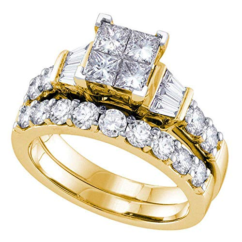 14k Yellow Gold Womens Princess Diamond Invisible-set Wedding Bridal Engagement Ring Set 1 Cttw (Invisible Bridal Diamond Set)