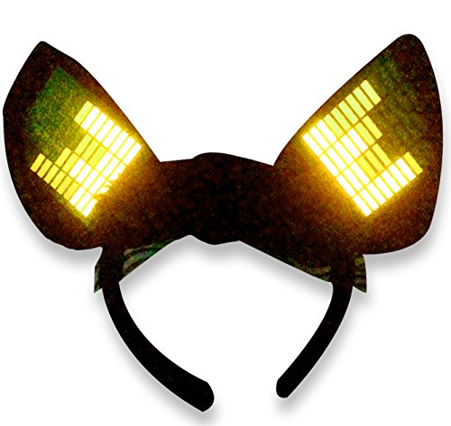 [Original Huboptic JP0 Yellow Cyber Ears - Light Up DJ Cat Kitty Ears - Neko Ears - Cosplay Ears Rave Dancers EDM Ears Gogo dancer cat woman] (Authentic Catwoman Costumes)