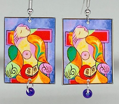 Picasso, Wearable Art, Picasso Earrings, Sterling Silver Earwires, Picasso Necklace Available, Metal and Glass, Designed and Handmade by Artist, Patti - Metal Earwire
