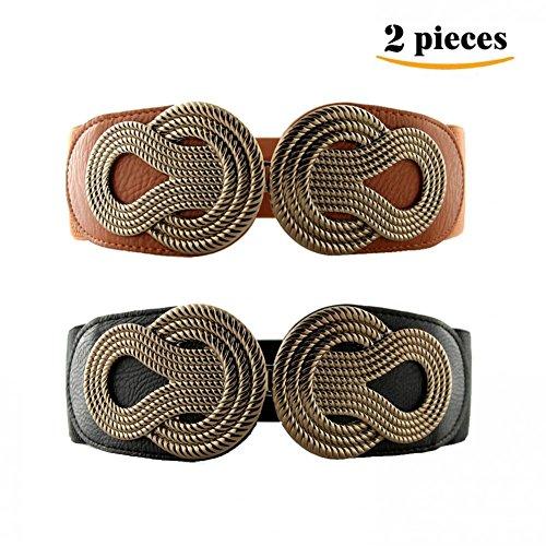 VOCHIC 2pcs Vintage Metal Interlock Buckle Elastic Waist Belt Womens Basic Wide Stretchy Cinch