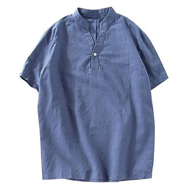KUKICAT - Camisa para Hombre de Lin Henley, Camiseta de Manga Corta para Hombre, Corte Ajustado, Cuello Mao, Camiseta Grande, Informal, básica, Amplia, Suave y cómoda Azul M: Amazon.es: Ropa y accesorios