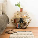End Table Bedroom Night Stand - Cardboard Ruche shelving unit - Medium Gold Finish
