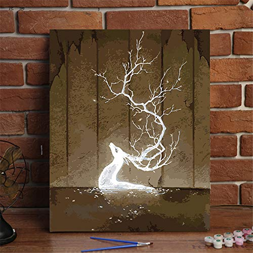- [Wood Frame] DIY Oil Painting, Paint Piece Set Home Decoration Wallpaper Value Gift Painting Deer 16x20 Inch