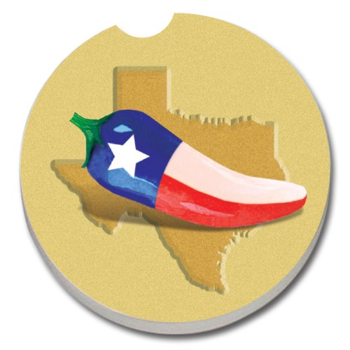 CounterArt Absorbent Stoneware Car Coaster, Texas with Chili Pepper
