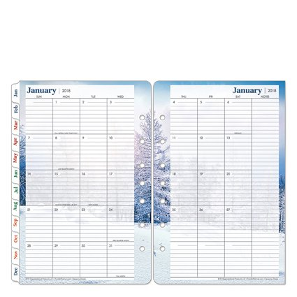 Classic Seasons Two Page Monthly Ring-bound Tabs - Jan 2018 - Dec 2018