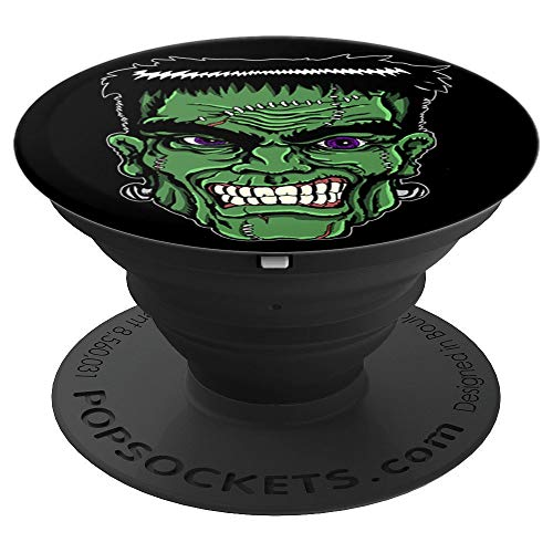Halloween Snarling Frankenstein Head Cartoon - PopSockets Grip and Stand for Phones and Tablets