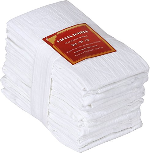 Utopia Kitchen 12 Pack Flour-Sack Towels, 100% Pure Rung Spin Cotton, Hand Towels, Multi-Purpose, Highly Absorbent