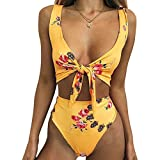 Fancathy Women Sexy High Waisted Bikini Sets Tie Knot Swimsuit Beachwear (Yellow, M)
