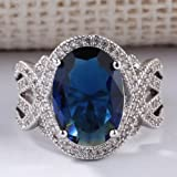 by lucky Woman Fashion Jewelry 925 Silver Ring Blue Sapphire Man Wedding Ring Size 6-10 (10)