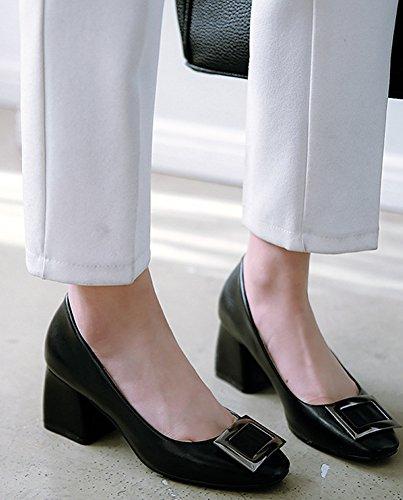 Idifu Womens Dressy Slip On Tacco Medio Basso A Tacco Medio In Chunky Con Tacco Alto Nero