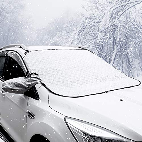 URXTRAL Windshield Snow Ice Cover Frost Guard Wiper & Rearview Mirrors Protector Windproof Sunshade for Car Minivan and SUV with Magnetic