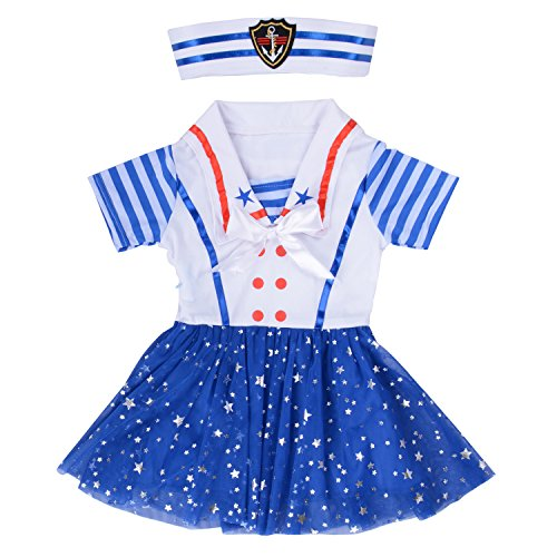Girl Sailor Dress Navy Nautical Sparkling Stars Sequins Costume Stripe Short Sleeve with Hat M -