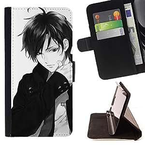 BullDog Case - FOR/Samsung Galaxy S3 III I9300 / - / GUY BOW JAPANESE ANIME DUDE WHITE /- Monedero de cuero de la PU Llevar cubierta de la caja con el ID Credit Card Slots Flip funda de cuer