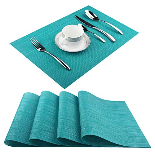 Pigchcy Placemats,Durable Placemats for Dining Table,Washable Woven Vinyl Kitchen Placemats Set of 4(18″X12″,Dark Turquoise)