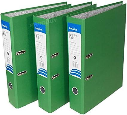 3 archivadores de palanca de polipropileno, tamaño A4, grandes, para oficina, papel, carpetas de almacenamiento (mezcla de color amarillo verde, azul), color verde A4: Amazon.es: Oficina y papelería