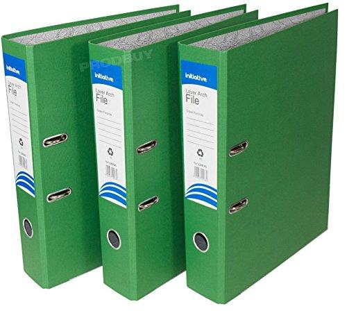 3 archivadores de palanca de polipropileno, tamaño A4, grandes, para oficina, papel, carpetas de almacenamiento (mezcla de color amarillo verde, azul), ...