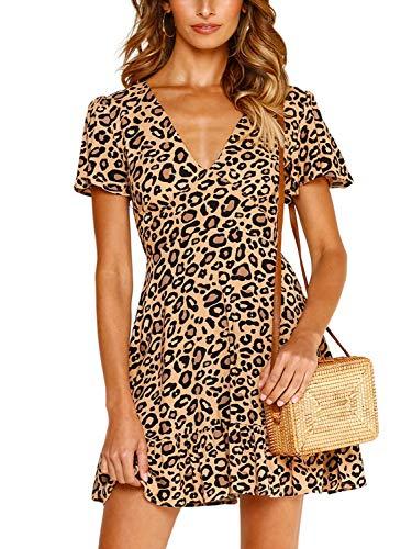 CHOiES record your inspired fashion Women's Sexy V Neck Floral Print Swing Mini Dress Short Sleeves Leopard Summer Beach Dress S Khaki