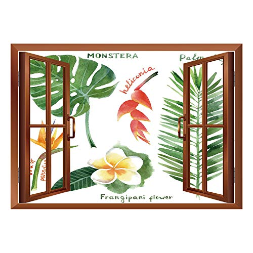 SCOCICI Wall Mural, Window Frame Mural/Plant,Bird of Paradise Palm Leaf and Assorted Exotic Flowers Watercolor Decorative,Coral Earth Yellow Fern Green/Wall Sticker ()