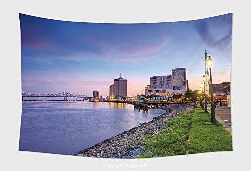Home Decor Tapestry Wall Hanging Downtown New Orleans Louisiana And The Missisippi River At Twilight for Bedroom Living Room - New Orleans Walk River