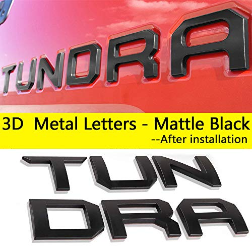 Auto safety for Toyota Tundra 2014-2019 Tailgate Insert 3D Metal Letters (Matte Black) Toyota Tundra Accessories -