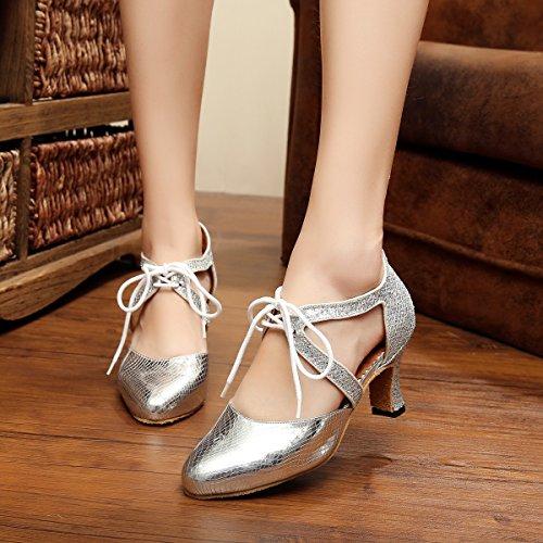 Minitoo QJ7047 Ladies Lace-up Tie Synthetic Latin Salsa Tango Dance Pumps Silver khbjxqcz