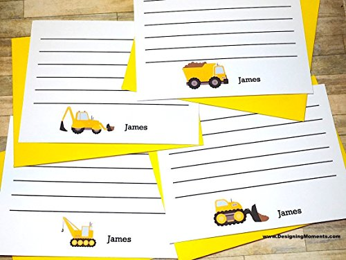 (Construction Note Cards - Bulldozer - Crane - Excavator - Dump Truck - Personalized Construction Cards - Thank You - Construction Worker)