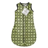 SwaddleDesigns Microplush Sleeping Sack with 2-Way Zipper, Brown Mod Circles on Lime; 6-12MO