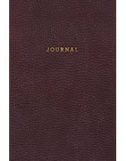 Journal: Vintage Elegant Black Leather Style - Gold Lettering - Softcover | 120 Blank Lined 6x9 College Ruled Pages