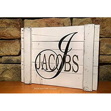Distressed White Personalized Reclaimed Wood Sign with Initial and Family Name 18  x 14
