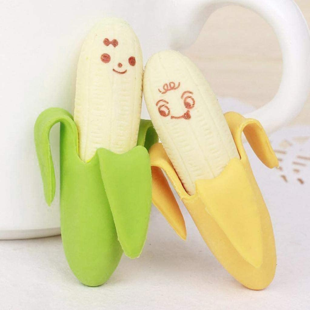 2Pcs Cute Banana Style Rubber Pencil Eraser for Students Kids School Stationary