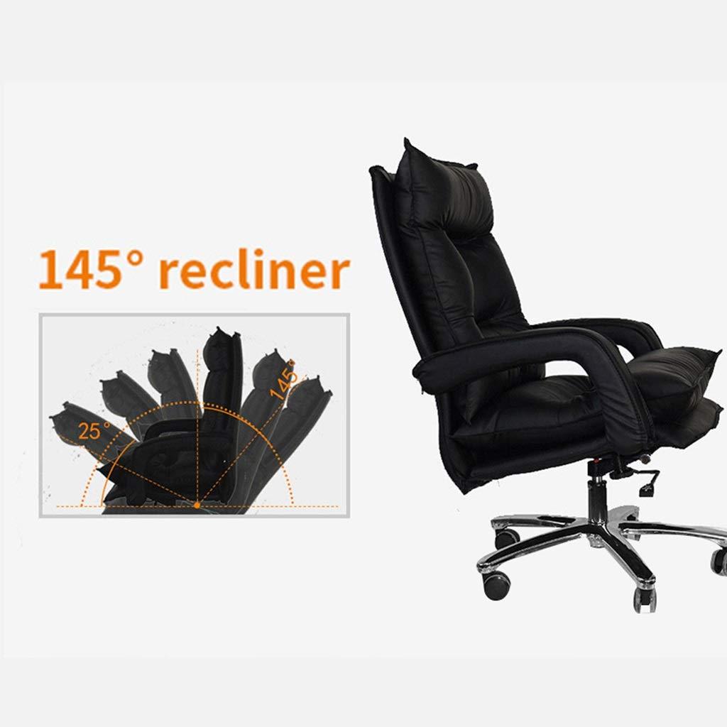 ZZHZY BBGS svängbar kontorsstol, spelstol, syntetisk läderchef stol, justerbar verkställande stol, 5 färger (färg: svart) BRUN