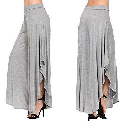 Gonna Pantaloni Taglie Eleganti Grigio 1 Larghi Forti Baggy Estivi Monocromo Pants Tempo Waist Moda Donna Irregular Libero High Damigella Pantalone 5SOwaa