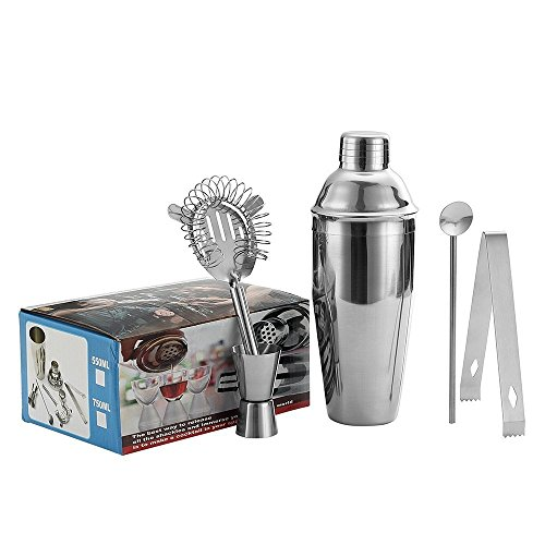5 Piece Stainless Steel 25 oz Cocktail Shaker Set by QLL, Silver Tipsy Tools Bartending Kit Cocktail Strainer Drink Stirrer Ice Tongs Jigger by QLL (Image #7)
