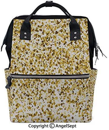Multi-Function Travel Backpack,Party Celebration Themed Confetti Like Squares Abstract Ombre Image Decorative Yellow and White,15.7 inches,Fashion Mummy Waterproof for Baby Care