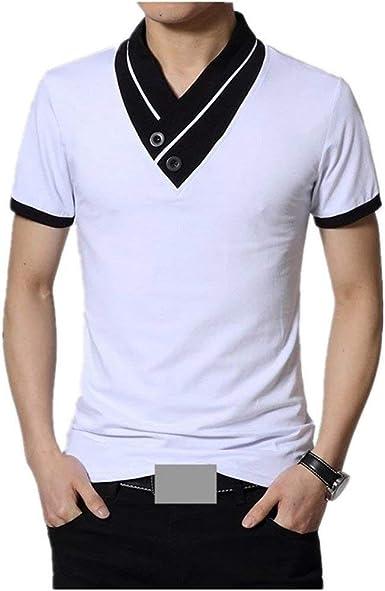 Lanceyy Camisa De Manga Corta Camisa Leotardo Camisa Polo Simple Estilo De Polo Polo Camisa De Hombre Camisa De Cuello Alto con Cuello En V Camisa De Algodón Fina Coreana Hombres: Amazon.es: