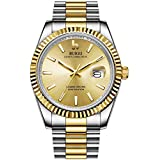 BUREI Men Analog Quartz Watch Gold Dial with Date Window Stainless Steel Case and Two Tone Band Sapphire Crystal Lens