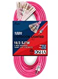 Miusco 100 ft 16 Gauge Heavy Duty Outdoor Extension Cord, 3 Prong, 12/3 SJTW, Triple Outlets, Lighted Plug, Fluorescent Pink