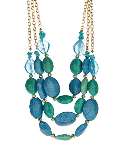 Lux Accessories Synthetic Turquoise & Mint Beaded Triple-Strand (Mint Beaded Necklace)