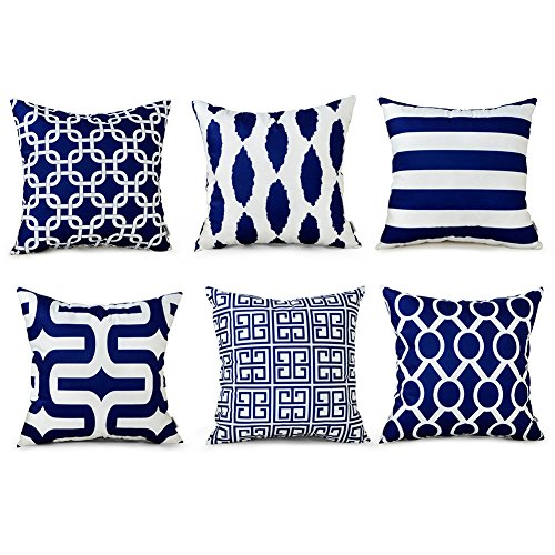 Top Finel Square Decorative Throw Pillow Cases Soft Microfiber Outdoor Cushion Covers 18 X 18 for Sofa Bedroom, Set of 6, Navy