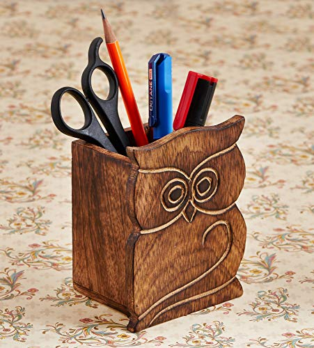 Office Organizer Ideas (Birthday Gifts Owl Design Rustic Wood Pencil Holder Pen Cup Desk Caddy Organizer Office Supplies Accessories Gift Ideas Office)