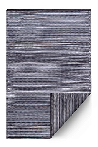 Fab Habitat Reversible Rugs | Indoor or Outdoor Use | Stain Resistant, Easy to Clean Weather Resistant Floor Mats | Cancun - Midnight Grey, (6' x 9')