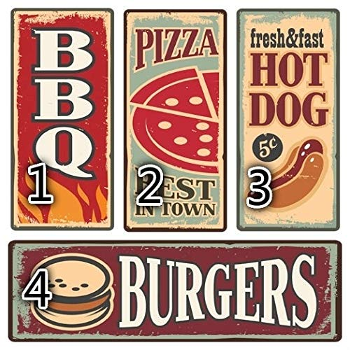 heigudan Metal Vintage Retro American Diner TIN Sign Plaque Pizza Burger HOT Dog Food